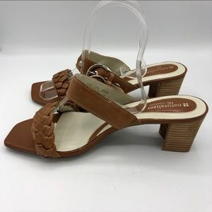 Naturalizer Brown Leather Sandals Stacked Heels